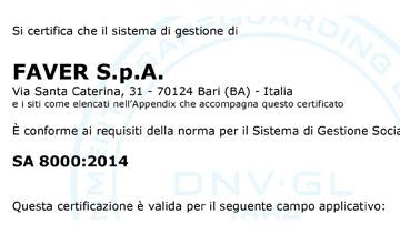 Certificato SA 8000